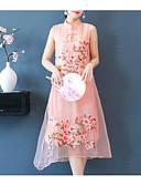 tanie Print Dresses-Damskie Impreza Wzornictwo chińskie Zmiana Sukienka - Kwiaty Midi