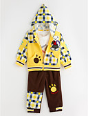 cheap Women's Sweaters-Spring Autumn Boy Three-piece Suits Lovely Bear Infant Long-sleeved Plaid Hooded Coat T-shirt Pants