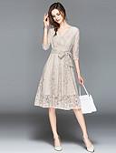 cheap Wedding Dresses-Women's Holiday / Going out Street chic / Sophisticated A Line Dress - Paisley Lace / Bow High Waist V Neck Summer Beige Khaki XL XXL XXXL
