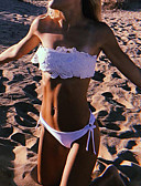 cheap Bikinis-Women's Basic Strapless White Bandeau Cheeky Bikini Swimwear - Solid Colored S M L White / Sexy
