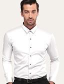 hesapli Erkek Gömlekleri-Erkek Pamuklu Gömlek Solid İş / Temel Parti / Çalışma Beyaz / Kısa Kollu / Uzun Kollu