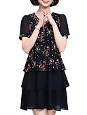 billige Romantiske blonder-Dame Store størrelser Vintage Puffermer Bomull Skiftet Kjole - Ensfarget / Geometrisk, Flettet Knelang Svart og hvit