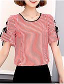זול חולצה-פסים חולצה - בגדי ריקוד נשים שרוכים לכל האורך / דפוס / קיץ / Stripe פיין
