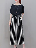 cheap Tankinis-Women's Plus Size Going out Street chic / Sophisticated Loose Set - Solid Colored / Striped, Bow High Waist Pant Choker / Summer / Fine Stripe / Sexy