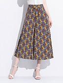 tanie Damska spódnica-Damskie Puszysta Luźna Spodnie szerokie nogawki Spodnie - Rozcięcie, Kwiaty / Geometric Shape / Kolorowy blok