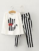 hesapli Kız Çocuk Kıyafet Setleri-Çocuklar Genç Kız Actif Kedi Çizgili Uzun Kollu Kıyafet Seti Beyaz