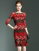 preiswerte Damen Kleider-Damen Street Schick / Anspruchsvoll Trompete / Meerjungfrau Kleid - Spitze, Blumen Mini