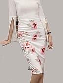 זול חצאיות לנשים-דפוס פרחוני - חצאיות עפרון סגנון רחוב מידות גדולות בגדי ריקוד נשים / רזה