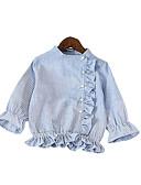tanie Topy dla dziewczynek-Brzdąc Dla dziewczynek Aktywny / Moda miejska Szkoła Niebiesko-biały Prążki Długi rękaw Bawełna Koszula