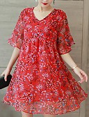 cheap Casual Dresses-Women's Plus Size Holiday / Going out Simple / Sophisticated Loose Chiffon Dress - Floral Print V Neck Summer Red XXXL 4XL XXXXXL