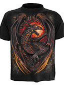 cheap Women's Dresses-Men's Street chic / Exaggerated Plus Size Cotton T-shirt - Color Block / Animal Dragon, Print / Short Sleeve