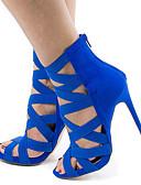 baratos Tops Femininos-Mulheres Sapatos Pele Nobuck Verão Plataforma Básica Sandálias Salto Agulha Dedo Aberto Vermelho / Verde / Azul / Festas & Noite