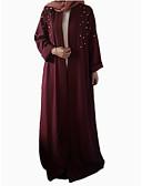 abordables Vestidos Maxi-Mujer Trabajo Vintage Básico Corte Ancho Abaya Kaftan Vestido - Acordonado Pera, Un Color Bloques Alta cintura Maxi