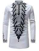 billige Herreskjorter-Herre - Geometrisk Trykt mønster Basale Skjorte Hvid XL / Høj krave / Langærmet
