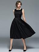 tanie Topy damskie-Damskie Wyjściowe Vintage / Podstawowy Linia A / Mała czarna Sukienka - Solidne kolory Kwadratowy dekolt Midi / Lato