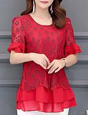 levne Dámské šaty-dámská halenka - květinová kulatý krk