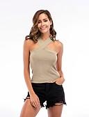 preiswerte Damen Tank-Shirts & kurze Jäckchen-Damen Solide - Aktiv Baumwolle Tank Tops, Halter Schlank / Sommer / Sexy