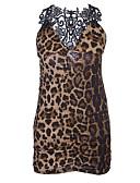ieftine Lenjerie la Modă-Pentru femei Sexy Babydoll & Slip Pijamale - Dantelă Leopard / În V