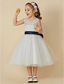 cheap Flower Girl Dresses-A-Line Knee Length Flower Girl Dress - Lace / Tulle Sleeveless Scoop Neck with Bow(s) / Sash / Ribbon by LAN TING BRIDE®