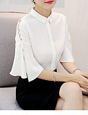 tanie Bluzka-T-shirt Damskie Vintage, Frędzel Bawełna Solidne kolory Bufka Czarno-czerwony / Flare rękawem