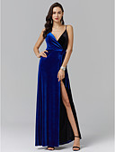cheap Cocktail Dresses-A-Line Spaghetti Strap Ankle Length Spandex Prom / Formal Evening Dress with Sash / Ribbon / Side Draping / Split Front by TS Couture®