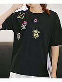 ieftine Tricou-Pentru femei Tricou Vintage - Mată Plisată Alb negru