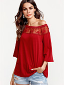 cheap Bodysuit-Women's Polyester Loose T-shirt - Solid Patchwork Sexy, Lace Backless Cut Out Off Shoulder