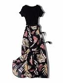 baratos Vestidos de Mulher-Mulheres Básico Túnicas Vestido - Fenda / Estampado, Floral / Geométrica / Estampa Colorida Médio
