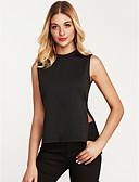 baratos Blusas Femininas-Mulheres Blusa - Feriado Moda de Rua Frufru, Sólido