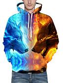 olcso Férfi pólók és pulóverek-Férfi Extra méret Alap / Túlzott Hosszú ujj Bő Kapucnis felsőrész - Nyomtatott, 3D / Állat Kapucni