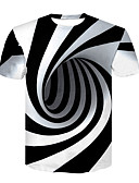 cheap Men's Tees & Tank Tops-Men's Basic / Street chic T-shirt - Color Block Black & White, Print