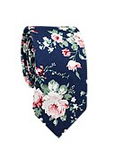 baratos Gravatas e Gravatas Borboleta-Homens Festa / Trabalho Algodão / Poliéster, Gravata Floral / Estampa Colorida / Todas as Estações