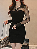 cheap Women's Nightwear-Women's Going out Sophisticated Slim Bodycon Dress - Solid Colored Mesh Mini Stand