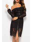 ieftine Romantic Lace-Pentru femei Vintage Mâneci Bufante Shift Rochie - Plisată, Mată Lungime Genunchi Alb negru