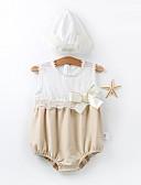 billige Ytterklær til baby-Baby Unisex Grunnleggende Fargeblokk Ermeløs Bomull Body Beige