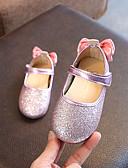 preiswerte Damenhüte-Mädchen Schuhe PU Frühling Sommer Komfort / Schuhe für das Blumenmädchen Flache Schuhe Walking Schleife / Paillette für Kinder Gold / Silber / Rosa