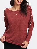 baratos Leggings para Mulheres-Mulheres Camiseta Básico Sólido Algodão Decote Canoa