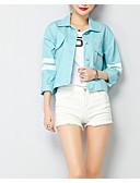 זול Jackets-אחיד בסיסי ז'קטים מג'ינס - בגדי ריקוד נשים, קפלים