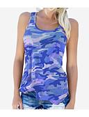 ieftine Bluze & Camisole Femei-Pentru femei Mărime Plus Size Tank Tops Ieșire Bumbac De Bază / Militar - camuflaj Fără Spate / Imprimeu / Vară / Zvelt