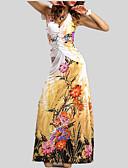 billige Kjoler i plus størrelser-Dame Boheme Swing Kjole - Blomstret, Åben ryg Maxi