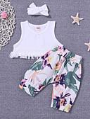 tanie Sukienki dla niemowląt-Dziecko Dla dziewczynek Aktywny Codzienny Nadruk Bez rękawów Regularny Bawełna / Poliester Komplet odzieży Biały