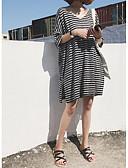 tanie Sukienki-Damskie Vintage Spodnie - Prążki Czarno-biały, Patchwork Czarny / Rekaw z falbanami