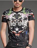 baratos Camisetas & Regatas Masculinas-Homens Tamanhos Grandes Camiseta Geométrica Algodão Decote Redondo / Manga Curta