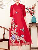 tanie Sukienki-Damskie Święto Wyrafinowany styl Swing Sukienka - Geometric Shape, Haft Kołnierz stawiany Midi / Lato