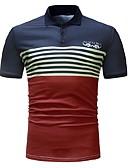 tanie Męskie koszulki polo-Puszysta Polo Męskie Podstawowy Bawełna Kolorowy blok / Krótki rękaw