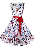 ieftine Rochii de Damă-Pentru femei Vintage Zvelt Pantaloni - Animal Fluture, Imprimeu Alb