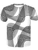 ieftine Maieu & Tricouri Bărbați-Bărbați Tricou De Bază / Șic Stradă - Bloc Culoare Imprimeu Alb negru