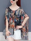 abordables Abrigos y Gabardinas de Mujer-Mujer Noche Blusa Floral
