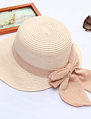 cheap Women's Belt-Women's Active / Holiday Straw Hat - Solid Colored Ruffle
