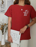 tanie T-shirt-T-shirt Damskie Vintage, Frędzel Bawełna Solidne kolory Bufka Czarno-biały